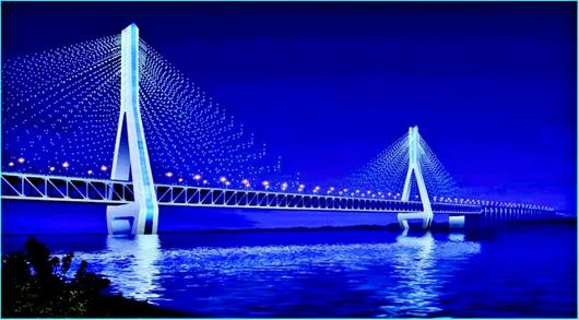 图为:改造后的天兴洲大桥将为黛蓝色和荼白色(效果图)