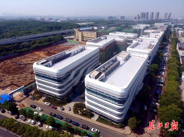 5月3日,武汉开发区人工智能科技园一派忙碌景象,下个月园区首期正式交付使用。通讯员杨爱国 摄