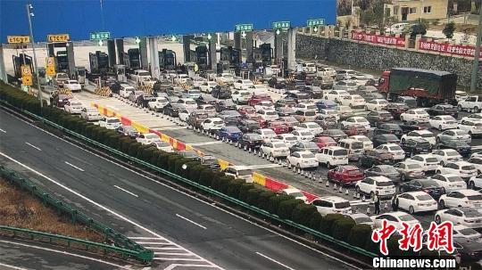 2月11日上午8时48分,沪鄂高速公路鄂皖省际收费站因车流量大出现排队等候现象 李洋 摄