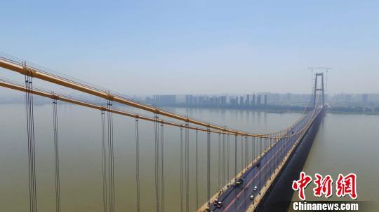 正在建设中的杨泗港长江大桥 郑子颜 摄