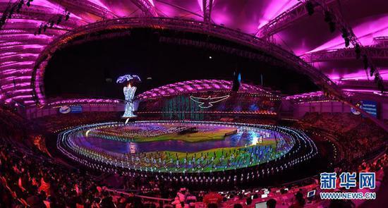 10月18日,第七届世界军人运动会开幕式在武汉体育中心举行。 这是开幕式现场(10月18日摄)。 新华社记者程敏摄