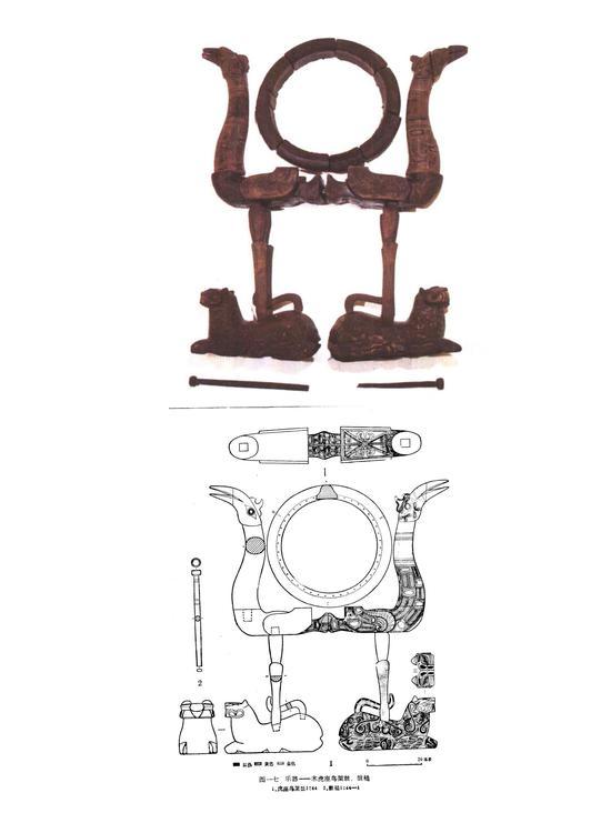 资料图:虎座鸟架鼓:1987年出土于湖北荆门包山楚墓