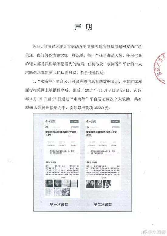 王凤雅家属两次筹款共有2249人次捐款,实际筹到35689元。