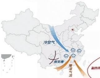 近期南方持续阴雨天气原理示意图,冷暖空气频繁交汇于长江中下游 省气象局 提供