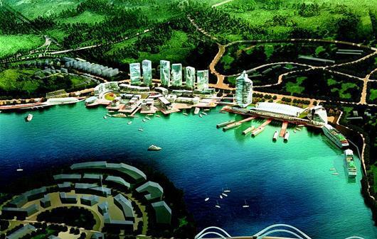 图为:长江三峡游轮中心效果图。
