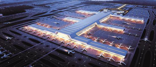 鄂州民用机场转运中心效果图。(中南建筑设计院供图)