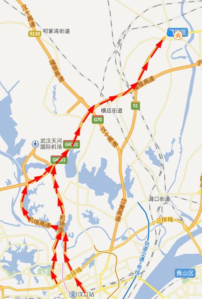 进入黄陂区(返程亦然)可经机场一通道、二通道,绕行武汉外环至黄陂区。