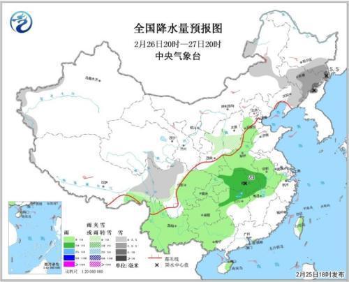 全国降水量预报图(2月26日20时-27日20时)