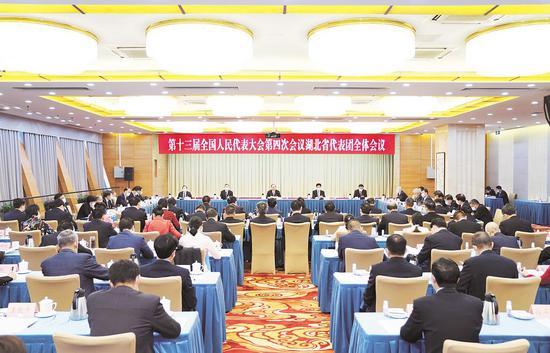 3月5日,第十三届全国人民代表大会第四次会议湖北代表团举行全体会议,审议政府工作报告。 (湖北日报全媒记者 陈迹 摄)