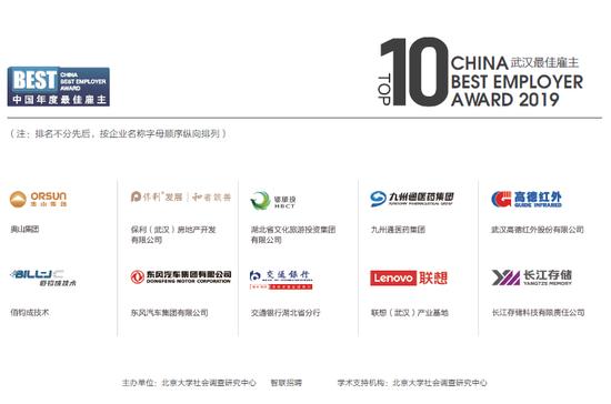 武漢最佳雇主十強榜單