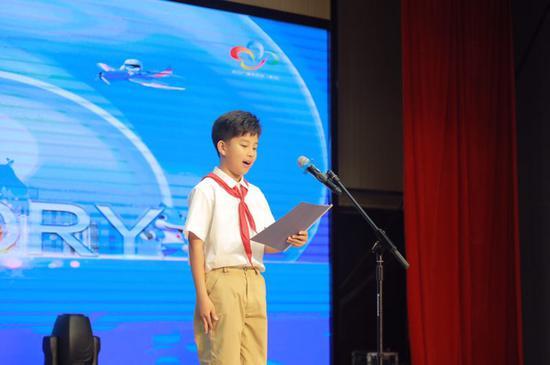长春街小学学生代表傅麟程发言 (摄影:谢一伟)