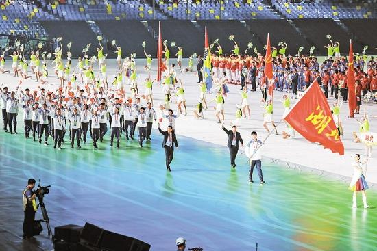 第十四届全运会开幕 张子扬引领湖北代表团方阵入场