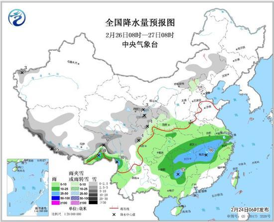 图4 全国降水量预报图(2月26日08时-27日08时)