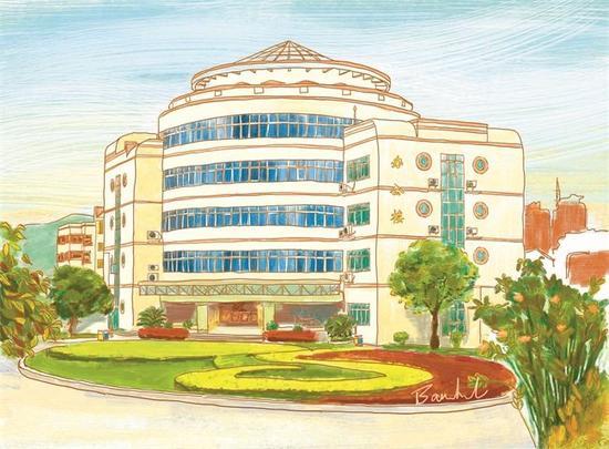 宜昌女孩龙文竹手绘夷陵中学校景图