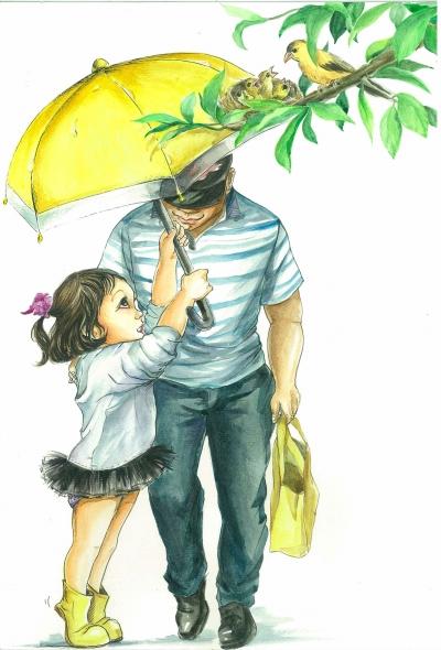 父亲撑伞手绘图片