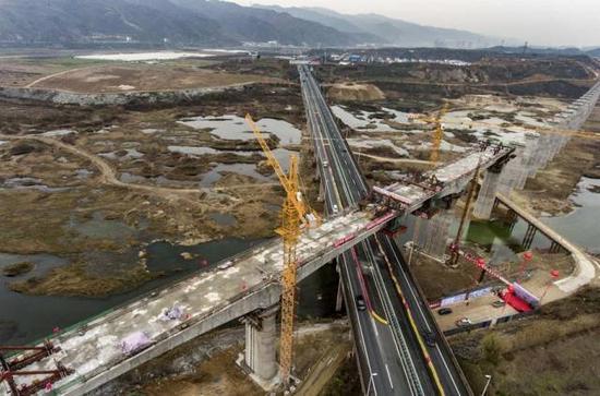汉十高铁建设现场航拍