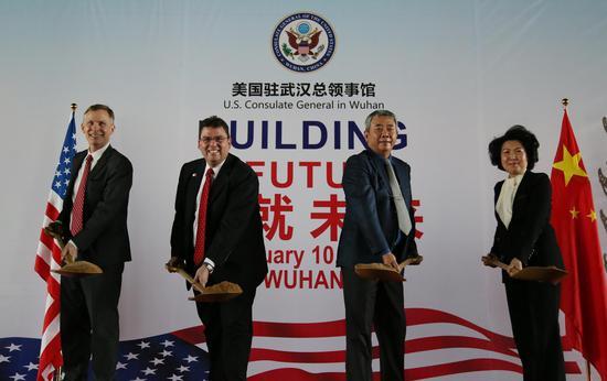美国驻武汉总领事馆举行开工仪式 扩馆后将提供签证服务