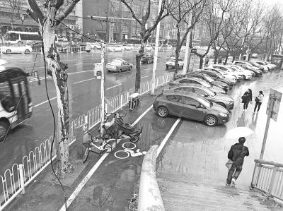 多辆轿车停在自行车道上记者孙笑天 摄