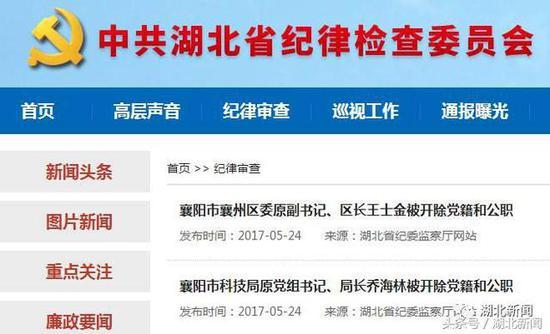 湖北纪委通报多名领导干部处理结果