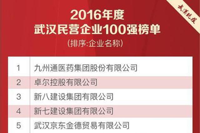 武汉发布2016民营企业百强 8企业上榜中国民企500强