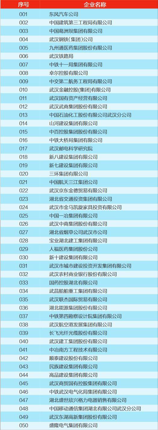 2017武汉企业100 强榜单(一)