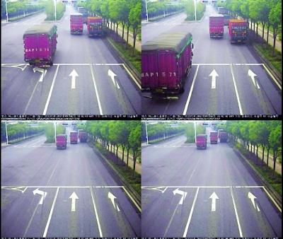 大货车在左转道上直行   监控截图