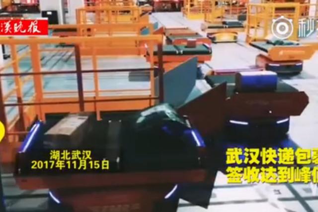 武汉快递达到峰值 全国最大机器人分拣系统在汉启用