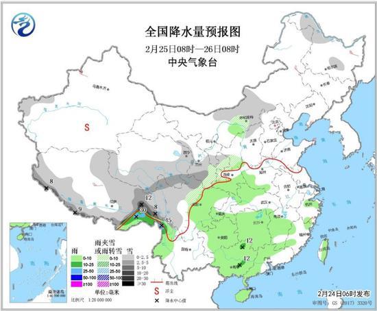 图3 全国降水量预报图(2月25日08时-26日08时)