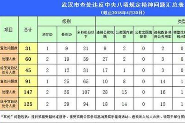 武汉查处违反中央八项规定精神问题 处理147人