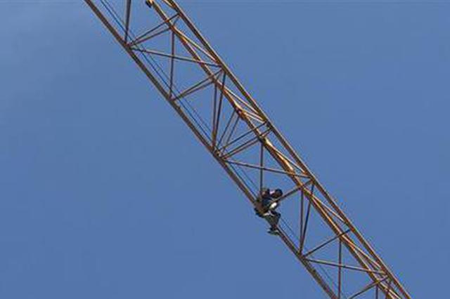 男子为讨薪爬上40米高塔吊 结果脱水中暑下不来