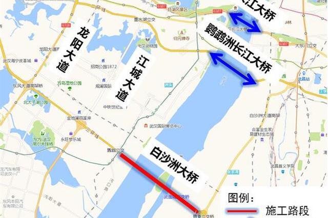 武汉白沙洲长江大桥维修施工 交警建议车辆绕行