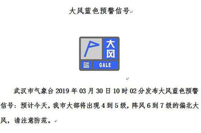 武汉将有6到7级大风 请不要在临时搭建物下逗留