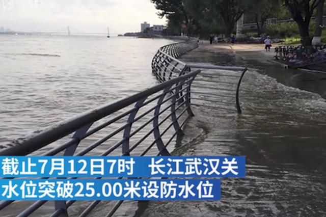 长江武汉关水位突破25米 武汉市组千人防汛应急队