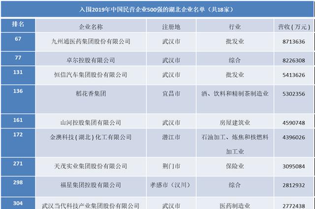 湖北18家企业上榜中国民企500强 数量位居全省第一