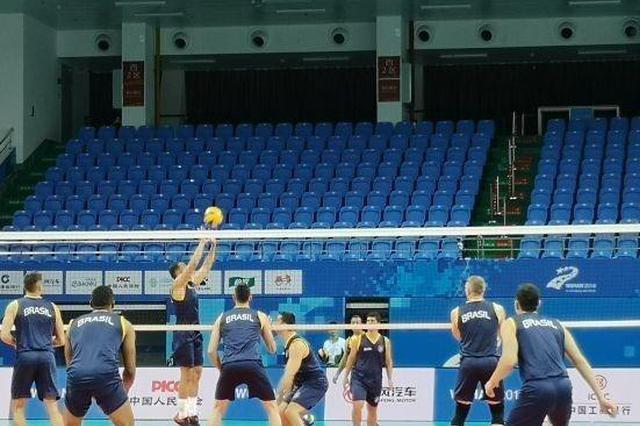 武汉军运会男排比赛中国队3-0战胜法国队取得开门红