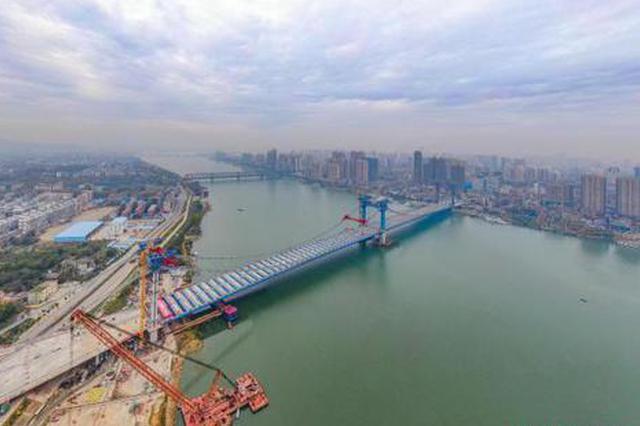 汉江首座三塔悬索桥庞公大桥主桥合龙 明年3月通车