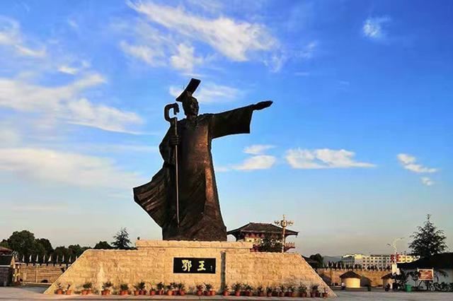 10米高鄂王铜像亮相湖北大冶 将成黄石文化新地标