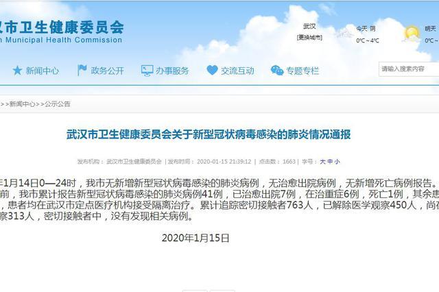 武汉新型冠状病毒无新增死亡病例 解除医学观察450人