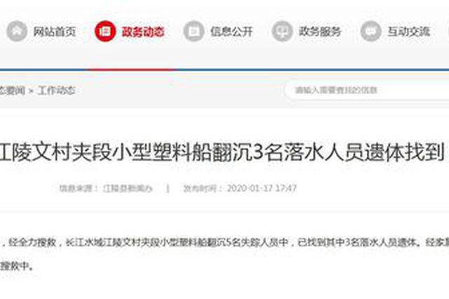 长江江陵段小船翻沉3名落水者遗体找到 尚有2人失踪