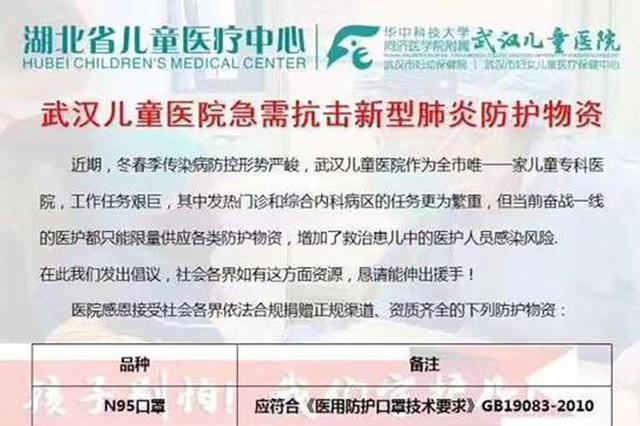 防护物资紧缺只能支撑三五天 武汉多家医院征集捐赠