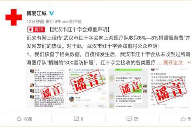 武汉红十字会辟谣:所有工作流程不存在任何收费现象