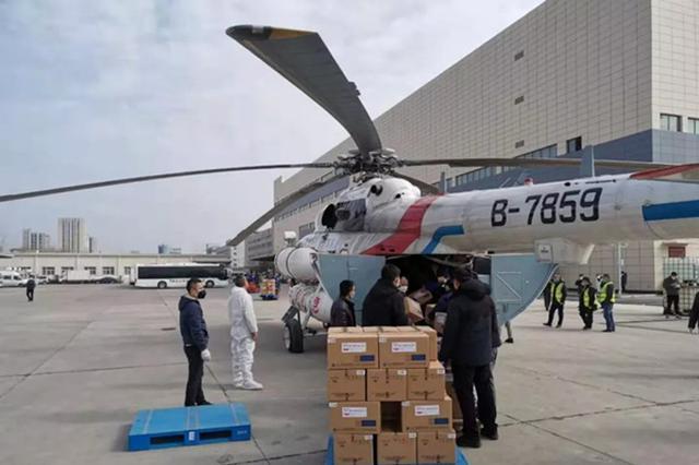 湖北首次动用直升机运送防疫物资 空运至宜昌、襄阳等地