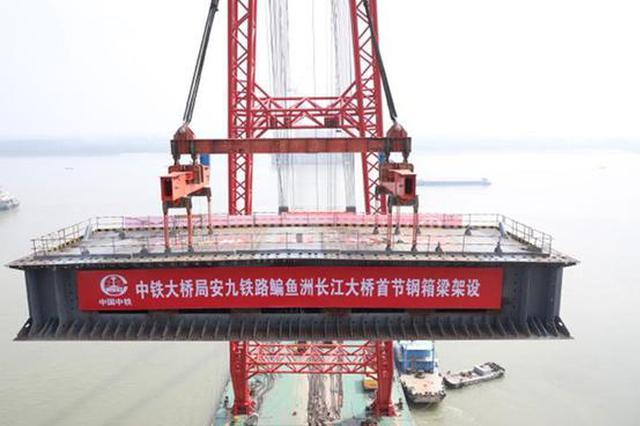 鳊鱼洲长江大桥开始架梁 系中国首座交叉索斜拉桥