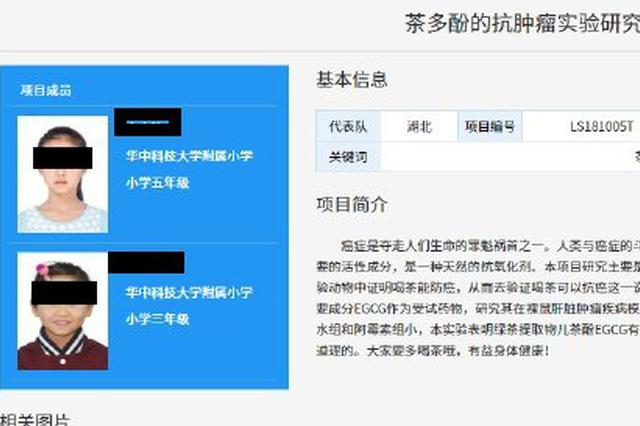 武汉2名小学生研究喝茶抗癌获全国大奖 官方称正调查
