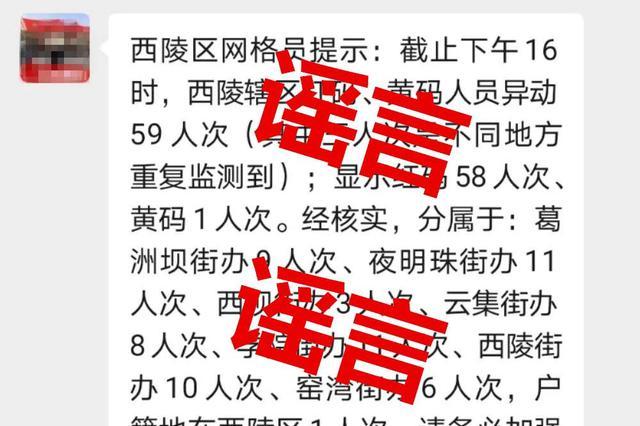 宜昌一辖区红码、黄码人员异动?官方回应:谣言
