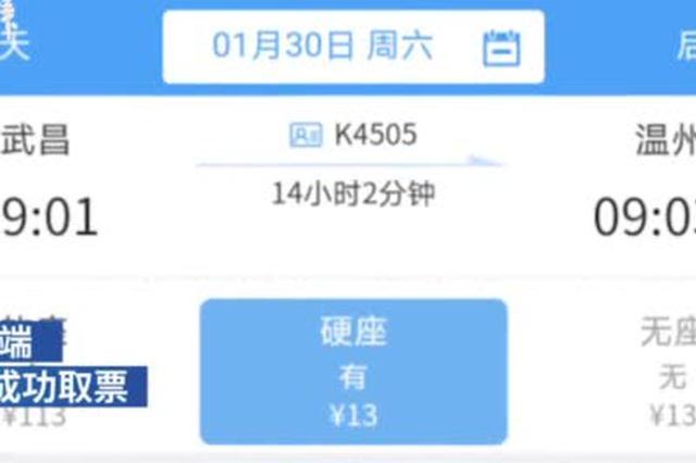 武汉到温州硬座车票售价13元 铁路客服回应