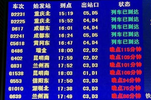 武汉强降雨引发铁路设备故障 目前已陆续恢复