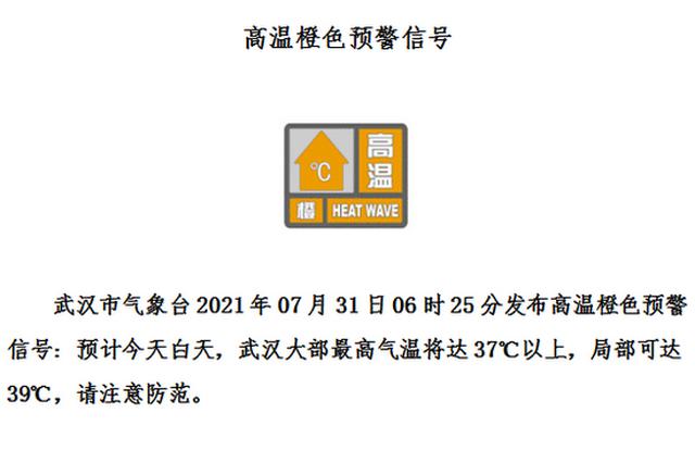 高温橙色预警!今天武汉大部最高温37℃+ 注意防暑