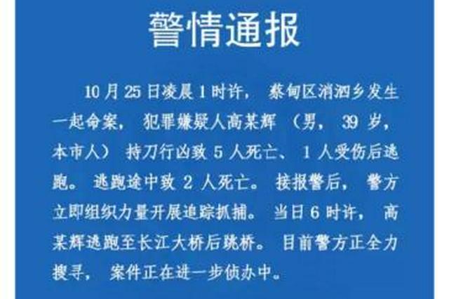 武汉一男子持刀行凶致5死1伤 逃跑途中又致2死