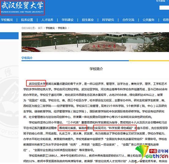 """""""武汉经贸大学""""学校简介页面,文内漏洞百出。网站截图"""
